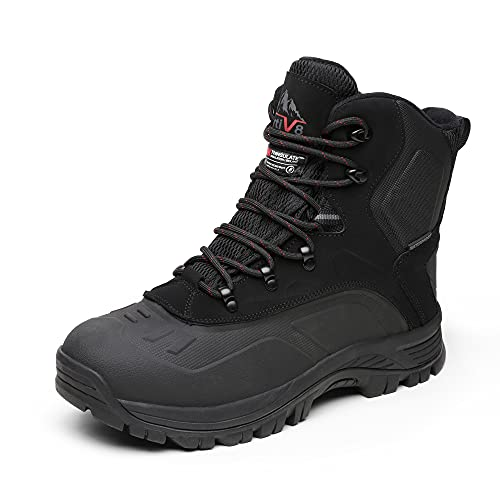 NORTIV 8 Men's 180411 Black Insulated Waterproof Construction Hiking Winter Snow Boots Size 9.5 M US