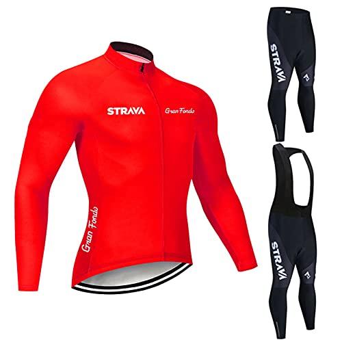 Conjunto Bicicleta Hombre Invierno, 3D Acolchado De Gel, Conjunto Largo Ciclismo Maillot Ciclismo + Pantalon/Culote Bicicleta (P10,XS)