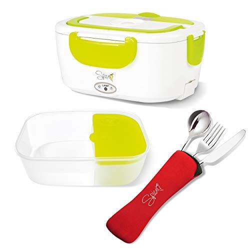 SPICE Amarillo Easy scaldavivande Elettrico Portatile con vaschetta Estraibile in plastica 1,5 L + Set 3 Posate in Acciaio Inox