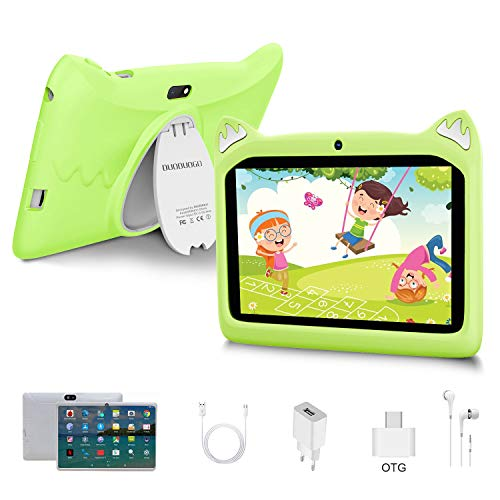 Touch Kids Tablet Android 10 OS 7' IPS Display 3GB RAM 32GB ROM / 128GB Scalable Kidoz & Google Play Pre-Installed with Kid-Proof Case (green)