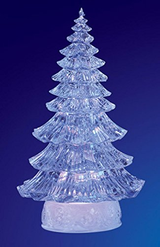 """Pack of 2 ICY Crystal Illuminated Traditional Christmas Tree Figures 12"""""""