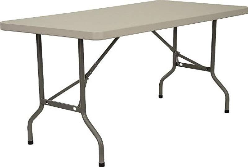 Flash Furniture 30 W X 60 L Granite White Plastic Folding Table
