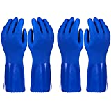 2 Pairs Rubber Household Cleaning Gloves for Kitchen Dishwashing, Cotton Lined (Blue, Large)