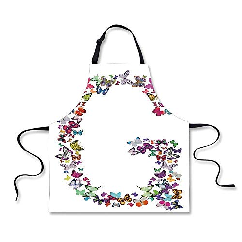 Letter G Exotic Colorful Butterflies in The Shape of Letter G Cute Feminine Girls for Kids Women Men Pinafore Barber Wa.