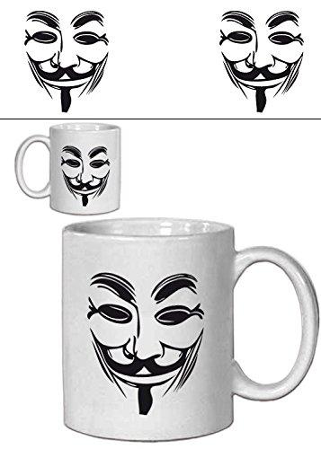 1art1 V De Vendetta, Máscara Guy Fawkes Taza Foto (9x8 cm) Y 1x Pegatina Sorpresa