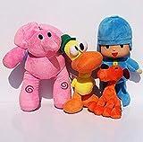 Skpitin Pocoyo Stuffed Animals Soft Figure Anime Plush 14CM-30CM Pocoyo Loula Elly Pato (One Set)