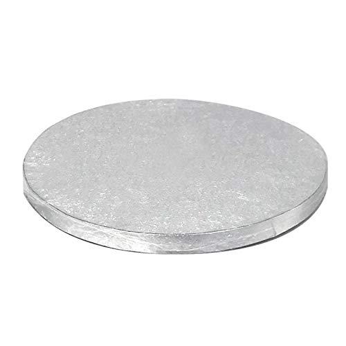 Dekora - Tortenunterlage Rund | Torten- oder Kuchenplatte Rund - Silber - 45 cm