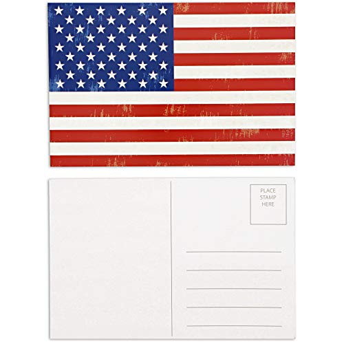 Best Paper Greetings Blank Postcards of American Flag Card (4 x 6 in, 40 Pack)