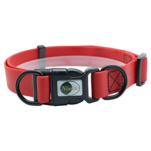 FHNLKFS Collar de Perro para Mascotas Ajustable Collar de Gato para Perros pequeños y Grandes Collar de Entrenamiento Collar cómodo al Aire Libre para Productos para Mascotas-Rojo_Metro