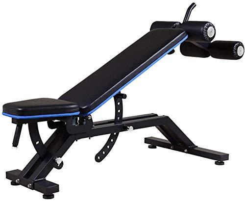 HUJPI verstellbare Sit-Up-Bank, Klappbar Trainingsbank höhenverstellbar Hantelbank mit hochwertigem dickem Polster/Rückenlehne für Ganzkörpertraining für´s Home-Gym,Black_170.5 * 47.6 * 41cm