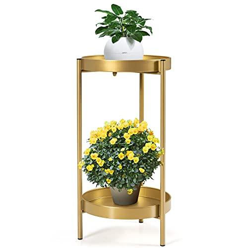 COSTWAY 2-stöckiger Pflanzenständer Metall, Blumenständer mit Ablage, Blumenhocker 15kg Belastbarkeit für Drinnen Draußen (30 X 60cm, Golden)
