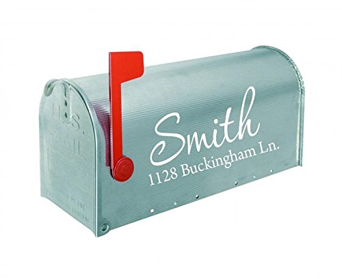 Mailbox Decals Personalized Address and Street Name Outdoor Stickers VWAQ-CMB1 (12 Inch X 6 Inch, White)