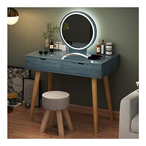 MYAOU Schminktisch mit Spiegel und Stuhl, Schminktisch für Mädchen Schlafzimmer Moderne Schminktische mit kosmetischen Schubladen Holzbeine Kommode