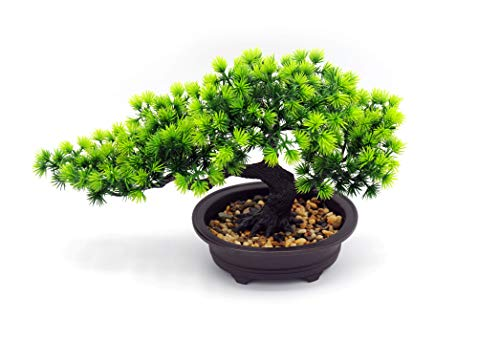 Artificial Plants Bonsai Pine Tree, Artificial House Welcoming Pot Plants, Japanese Pine Desktop Display Simulation, Living Room, Zen Garden Decoration Decor (Vivid)