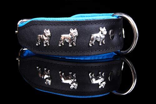 Unbekannt Französische Bulldogge Hundehalsband 50cm echt Leder (Schwarz/Blau)