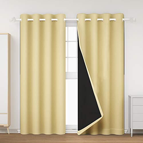 """GRANDRE 100% Blackout Lined Curtains 2 Thick Layers Window Treatment 84 Inches Long- Grommet Top, Thermal Insulated Solid Drapes for Bedroom/Nursery (Beige, 52"""" Wide x 84"""" Long, 2 Panels)"""