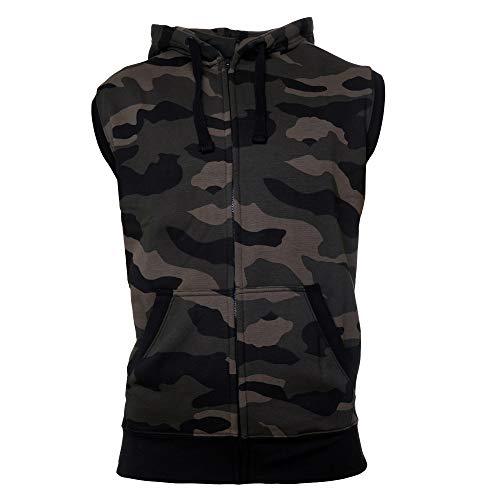 ROCK-IT Apparel® Zipped Hoodie ärmellos für Herren Sleeveless Fitness Kapuzenpullover Männer Sweater Trainingsweste Sweatshirt Tank Top S-4XL Farbe Dark Camo 4X-Large