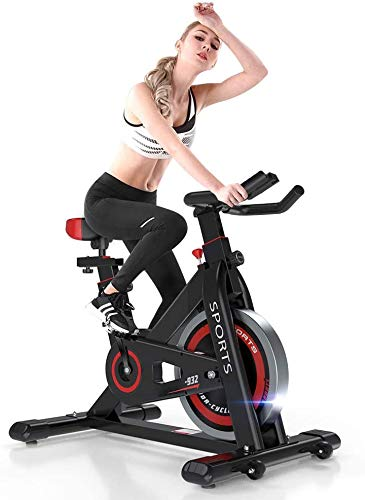 iPro Stationary Exercise Bike-2021 Version Indoor Cycling Infinite Resistance Spinning Bike, Gym Machine Fitness Equipment for Home Training, Heart Rate Monitor, LCD Monitor, Bidirectional Flywheel