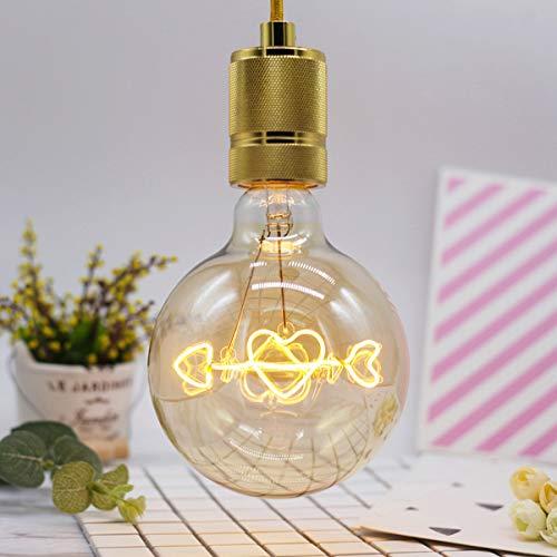 OSALADI G125 Lampada Edison Vintage Lampadina portalampada E27 Lampadina con frecce a forma di cuore 220-240V 4W Lampada lampadina a risparmio energetico (Bianco caldo)