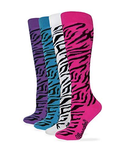 Wrangler Women's Ladies Zebra Boot Socks 4 Pair Pack, Hot Pink/Teal/Purple/White, Medium