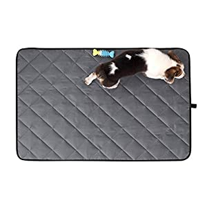 Dog Feeding Mat Waterproof Nylon Bed Crate Kennel Pad Sleeping Mattress for Small Medium Large Dog/Cat Machine Washable Pet Blanket Placemat for Bowl Cage Car Sofa Stitched Strap Hanger Anti-Slip Dots