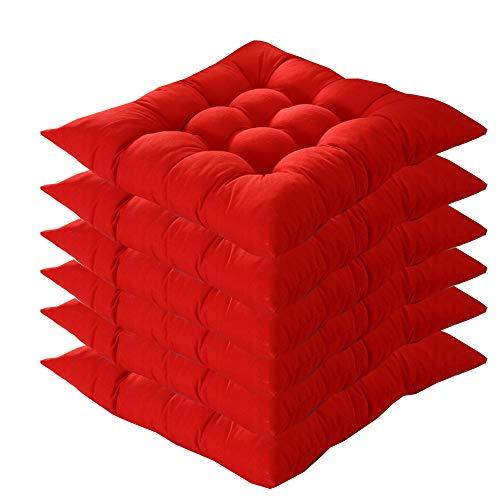 6er Set Stuhlkissen mit Bänder, 40x40x5cm, Sitzkissen für Stühle drinnen und draußen (Mehrere Farben zur Auswahl) (Rot)