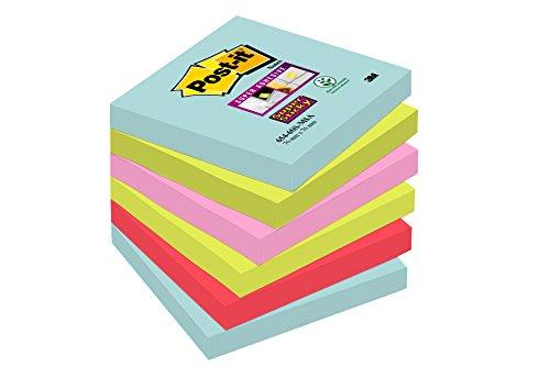 Post-it Super Sticky Notes Miami Collection 6546SMI – Selbstklebende Haftnotizzettel in 76 x 76 mm – 6 Notizblöcke quadratisch à 90 Blatt in 4 Farben, türkis, neongrün, neonpink, mohnrot