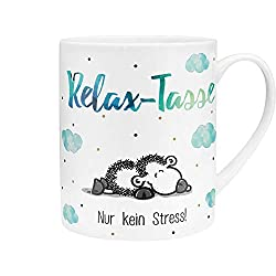 Die Geschenkewelt 45755 XL-Tasse mit Spruch Relax-Tasse, Porzellan, 60 cl, mit Geschenk-Banderole, Blau