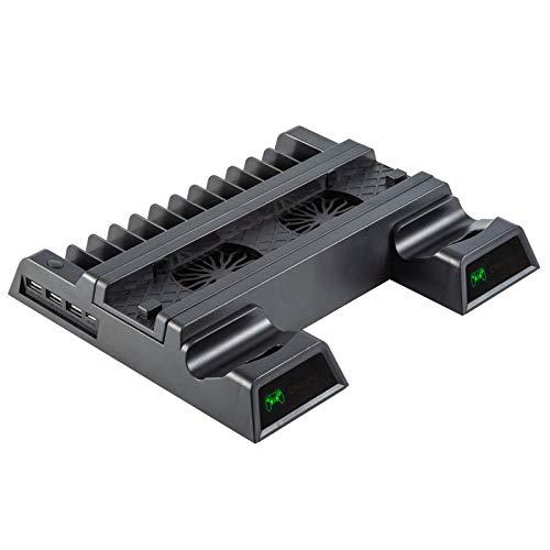 wji Soporte del Cargador del Agarre de la Base del Ventilador de refrigeración PS4, Soporte Vertical USB, Base del Cargador del Controlador Dual PS4