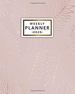 2020 Weekly Planner: Elegant One Year Weekly Planner, Organizer & Diary - Cute Daily Schedule Agenda with Inspirational Quotes, To-Do's, U.S. Holidays, Vision Boards & Notes - Rose Gold Palm Leaves