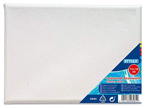 Stylex 28581 Keilrahmen 13 x 18 cm, mit Leinwand aus 100% Baumwollgewebe bespannt, grundiert, rückseitig geheftet, für Öl, Acryl-und Temperafarben, Gouache-Malerei, Baumwolle, weiß