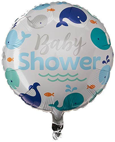 Creative Converting Blue Whale Baby Shower Foil Balloon, 18', White