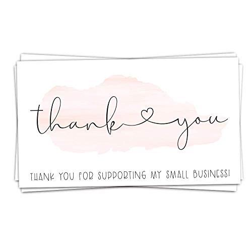50 kleine rosa Aquarellfarben (8,9 x 5,1 cm) Dankeskarten für die Unterstützung meines kleinen Unternehmens – Kunden-Dankeskarten für Bestellkarten – kleines Online-Business-Paket Einsatz