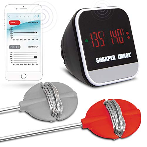 SHARPER IMAGE Bluetooth Smartphone Grill Thermometer, iOS/Android Capability W/App, Meat Probes Plus...