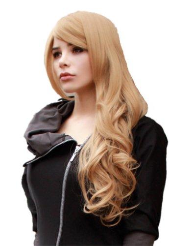 Prettyland Perruque Longe 70 cm Blonde Bouclée Frisée Pointe de Cheveux Volume Manga Fée Lolita C507