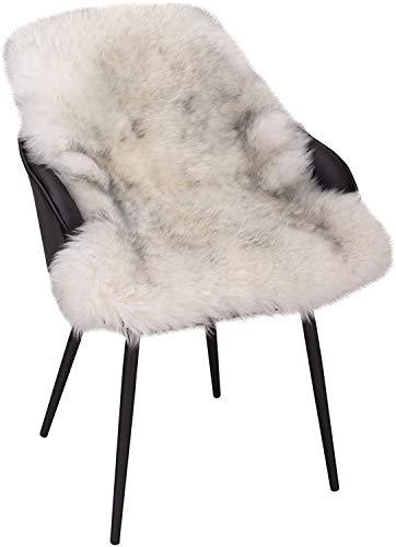 WOLTU TP3510wsg-L Öko Lammfell Schaffell Teppich Bettvorleger Sofa Matte echtes Naturfell Longhair Weiß+Grau 90-104cm