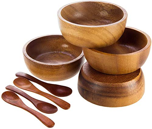 BestySuperStore Acacia Wood Bowl in small size for Condiments, Dip Sauce, Ketchup, Jam, Prep, Olive and Salsa, Dia 2.75'x 1.5 H - Set of 4 (FREE 4 Wood Spoons)