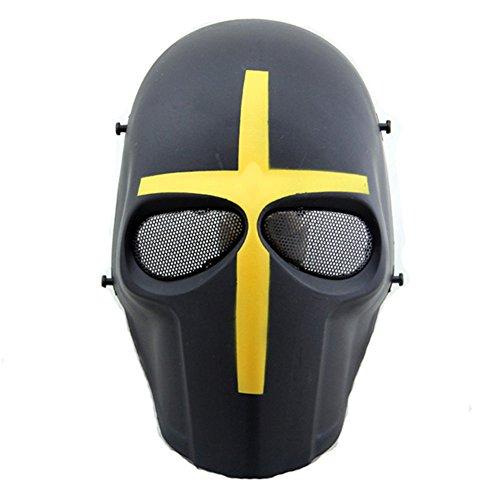 Máscara táctica de protección CS para paintball, airsoft, hockey, BB, disfraces, Halloween, cosplay, cobertura completa, Yellow Cross