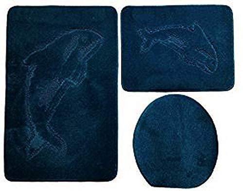 Ilkadim Delphin Badgarnitur 3 TLG. Set 55x85 cm einfarbig, WC Vorleger ohne Ausschnitt für Hänge-WC (Petrol dunkel)