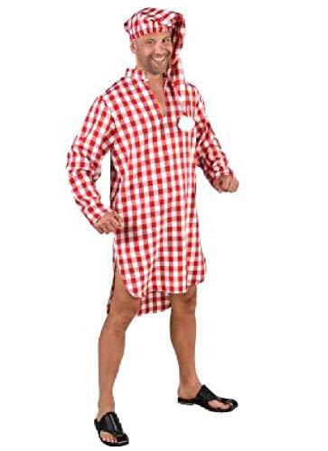 M219244-64-XL-XXL weiß-rot kariert Herren Nachthemd Schlafmütze Schlafwandler Kostüm Gr.XL-XXL=60-62