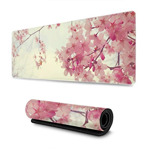 Pink Japanese Sakura Gaming Mouse Pad XL, Extended Large Mouse Mat Desk Pad, Stitched Edges Mousepad, Long Non-Slip Rubber Base Mice Pad, 31.5 X 11.8 Inch