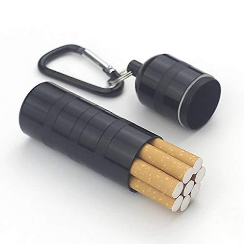 YXZN La Boîte De Cigarettes Étanche en Alliage D'aluminium Étanche À l'eau du Réservoir Portable Étanche pour Homme Peut Accueillir 7-8,Black,2.8X10.5CM