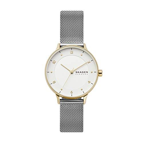 Skagen - Reloj analógico Riis de Cuarzo con Correa de Malla de Acero Inoxidable en Tono Plateado para Mujer SKW2912