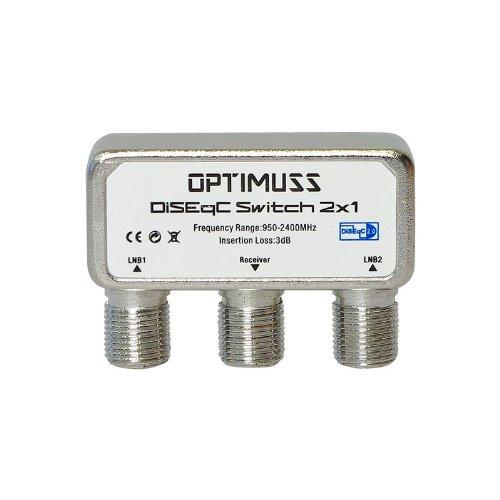 Edision Optimuss DiSEqC Schalter 2/1 (DiSEqC 2.0 Switch, zwei Satelliten auf 1x Satelliten-Receiver) mit Wetterschutzgehäuse