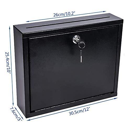 Kyodoled Suggestion Box with Lock Wall Mounted,Mail Box, Key Drop Box Cards, Safe Lock Box,Ballot Box,Donation Box,3W x 10H x 12L Inch Black Photo #7