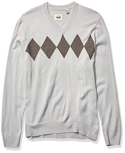 Dockers Men's Long Sleeve V-Neck Sweater, Bays Gray (Legacy), X-Large