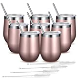 Fungun 8 Pack 12 oz Rose gold Stainless Steel Stemless Wine Glass Tumbler Double Wall Vacuum Insulated Wine Tumbler with Straws for Wine, Coffee, Drinks, Cocktails, Champagne