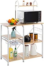 JOYBASE Kitchen Bakers Rack, Rustic Kitchen Rack, Microwave Stand, Coffee Station with Wire Basket, 10 Hooks (Light Beige/White)
