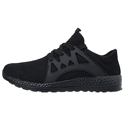 VVQI Laufschuhe Herren Damen Sneaker Sportschuhe Turnschuhe Mode Leichtgewichts Freizeit Atmungsaktive Fitness Schuhe 43 EU 004 2 Schwarz