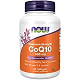 NOW Supplements, CoQ10 600 mg, Maximum Strength with Vitamin E & Lecithin, 60 Softgels